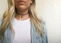 Silver star choker  black choker necklace thin by EndlessUniverse