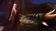 Daenerys Petting Big Dragon by FunFictionArt