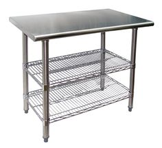 """Universal TS2448 - 48"""" X 24"""" Stainless Steel Work Table W/ Wire Under Shelves"""