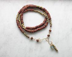 Long Beaded Necklace Handmade Beadwork Multi Strand by prairiefunk, $128.00