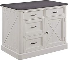 New Home Styles Seaside Lodge White Kitchen Island Brushed Finish, Quartz Top, Wood Panel Doors, Four Drawers, Adjustable Shelves online shopping - Theeasytopbuy Shelf Furniture, New Furniture, Adjustable Beds, Adjustable Shelving, Transitional Dining Sets, Kitchen Island With Granite Top, Headboard Designs, Seaside Lodge, Dining Table In Kitchen