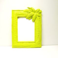 palm tree picture frame neon lime green upcycled frames by nashpop, $18.00