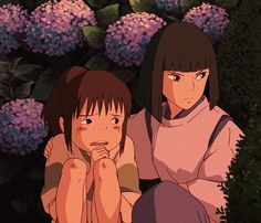 Ghibli Sen to Chihiro no kamikakushi Chihiro and Haku ~. Hayao Miyazaki, Spirited Away Movie, Spirited Away Haku, Anime Gifs, Anime Manga, Anime Art, Studio Ghibli Art, Studio Ghibli Movies, Totoro