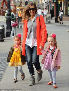 SJP was seen with her twin girls Marion and Tabitha
