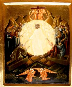 Descent into Hades by Nica Lucia of Romania Byzantine Icons, Byzantine Art, Religious Icons, Religious Art, Church Icon, Alchemy Art, Christ Is Risen, Christian Artwork, Jesus Art