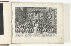 Frans Hogenberg | Troonsafstand door Karel V, 1555, Frans Hogenberg, 1566 - 1572 | Karel V doet afstand van de troon, 25 oktober 1555. In de troonzaal knielt Filips voor zijn vader. Links Granvelle, rechts Margaretha van Parma en vliesridders. Ten overstaan van een Ten overstaan van de volledige vergadering van de Staten-Generaal staande voor houten banken met kussens. De muren versierd met wandtapijten. Met onderschrift van 12 regels in het Duits en 5 regels in het Frans.