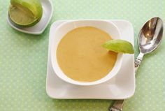 Creamy Carrot & Ginger Soup with Lime ~ This creamy soup is delicious served chilled or warm. If you eliminate the cayenne pepper, you can s...