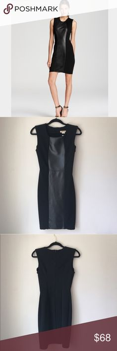 Arden B Black Faux Leather Knit Dress Size S Stunning knot Faux leather dress in black by Arden B. Rear zip. Size Small. Excellent preowned condition. Arden B Dresses
