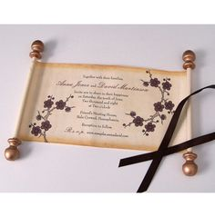 Wedding Invitation Scrolls with Flower Blossoms, Customized, in Copper and Truffle Brown, wide Paper (set of Scroll Wedding Invitations, Scroll Invitation, Spring Wedding Invitations, Wedding Party Invites, Wedding Invitation Design, Party Invitations, Cute Wedding Ideas, Wedding Themes, Wedding Blog