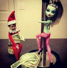 Elf on the Shelf funny with ca$h.. :-) would never do this but it is too funny!
