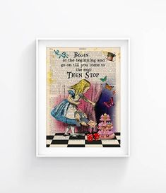 Alice In Wonderland Vintage Illustration Print Decorative Art Book Page Upcycled Page Print, Wall decor Retro Poster Vintage Book print 134