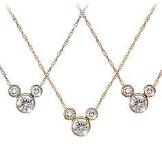 Diamond Icon Mickey Mouse Necklace: Large -- 14 Karat