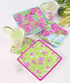 """Summer entertaining essentials: Lilly Pulitzer makes plates, an acrylic pitcher, stemware and tumblers in a leafy pattern splashed with pink, green and blue. """"The colors and prints are so happy,"""" says Steve Smith, who with wife Margaret co-owns the The Pink Crab, a Lilly Pulitzer boutique in Annapolis.""""We love the summer collection because it is inspired by the sea, perfect for Annapolis."""""""