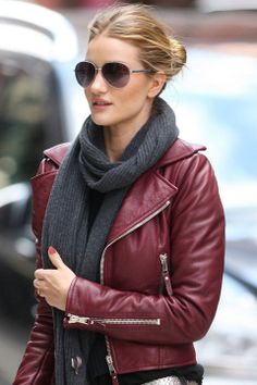 Street style: Rosie Huntington-Whiteley. | Red jacket (of course, I would choose to wear faux leather).