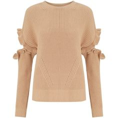 Miss Selfridge Frill Elbow Jumper (8.520 HUF) ❤ liked on Polyvore featuring tops, sweaters, camel, cutout-shoulder sweaters, long sleeve jumper, chunky cotton sweater, cut out sleeve top and ruffle sleeve top