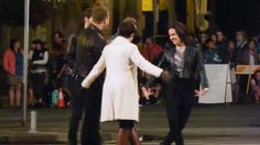 Once Upon A Time filming- Lana and Ginny Curtsy