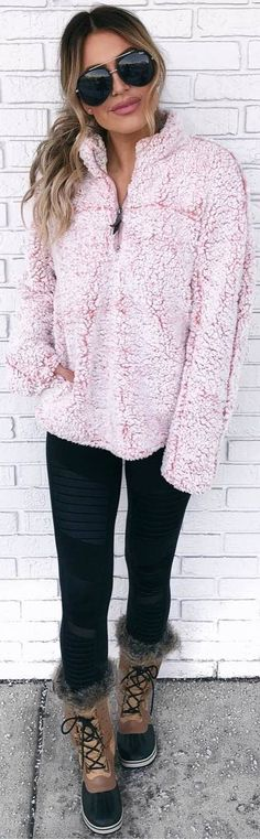 #winter #outfits pink blouse, leggings, boots