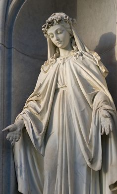 Virgin Mary statue from Holy Cross Catholic Cemetery. Blessed Mother Mary, Divine Mother, Blessed Virgin Mary, Catholic Art, Religious Art, Religion, Virgin Mary Statue, Virgin Mary Art, La Madone