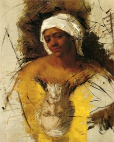Sketch of Mrs. Currey, 1871, oil on canvas, 32.25 x 27 cm, Private Collection, early works,  Mary Cassat (1844-1926).