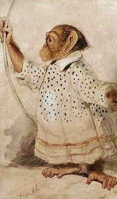 Edward Lear - Art and Writing Monkey See Monkey Do, Monkey Art, Edward Lear, Spirited Art, English Artists, Doll Painting, Animal Heads, Pet Portraits, Illustration Art
