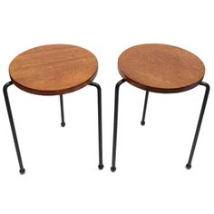 Pair of Luther Conover Stools with the Original Ball Feet from Sausalito CA