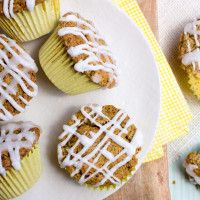 Glazed Lemon-Poppyseed Muffins made with Haylie's new baking mix -- have a bright and lemony morning!