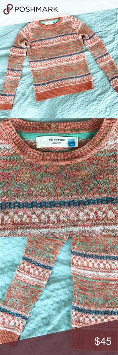 Anthropologie lightweight sweater by Sparrow XS Pretty and lightweight coral and turquoise patterned sweater by Sparrow at Anthropologie. Like new. Anthropologie Sweaters Crew & Scoop Necks