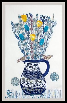 The Blue Jug, XL linocut, textile collage with embroidery by Mariann Johansen-Ellis