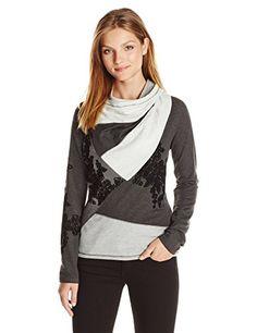 Desigual Womens Sweater Rosi, Gris Vigore Oscuro, Medium $129.95