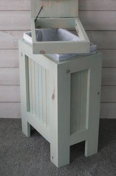 Organizing life - Kitchen Garbage Can Wood Trash Bin Wood Trash Can Rustic Wood Trash Can, Trash Can Ideas, Outside Benches, Garbage Storage, Trash Can Cabinet, Driftwood Stain, Kitchen Trash Cans, Canned Dog Food, Trash Bins