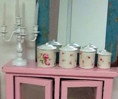 Miniature Dollhouse Shabby Style Canisters by DebbieCalif on Etsy, $19.99