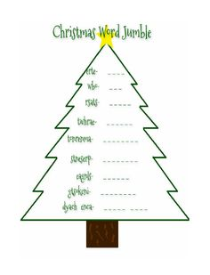 FREE Christmas Word Jumble. Print for the kiddos while the adults are visiting.