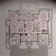 1492 Thatch Palm Dr, Boca Raton, FL - Main Level Luxury House Plans, Luxury Houses, New House Plans, Modern House Plans, House Floor Plans, Big Homes, Condos, New Age, Farm House