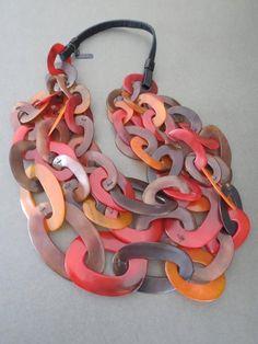Vintage Danish Monies Gerda Lynggaard Horn Necklace Signed 1980