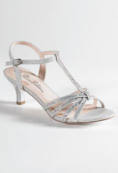 Low Heel Rhinestone Sandal from Camille La Vie and Group USA - jr bridesmaid shoes!!