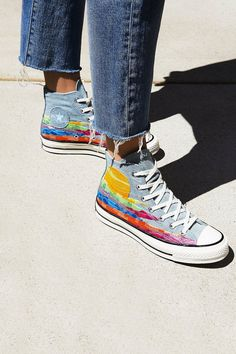 Let your colors shine bright with these fab denim high tops sneakers.