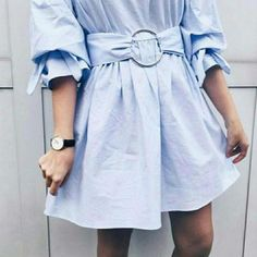 ZARA Sky Blue Poplin Dress With Belt Buckle New S/S 2017 BNWT Size M | eBay