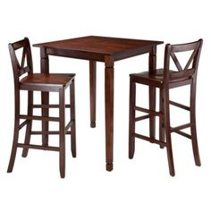 Winsome Trading Kingsgate 3 Piece Dining Table Set with Bar V-Back Chairs