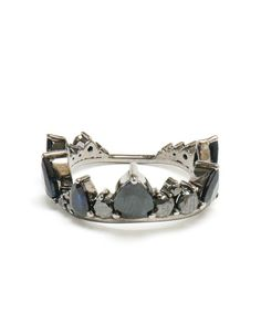FERNANDO JORGE | 18K Oxidised Gold and Black Diamond Crown Ring