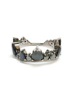FERNANDO JORGE   18K Oxidised Gold and Black Diamond Crown Ring