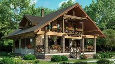 Perfect for retirement Log Cabin Homes, Cottage Homes, Hut House, Villa, Dream House Exterior, Stone Houses, Facade House, Home Design Plans, House In The Woods