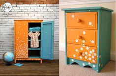 My homage to Beau Ford's (Annie Sloan Painter in Residence) gorgeous wardrobe - bedside drawers painted in Annie Sloan Provence and Barcelona Orange Chalk PaintTM