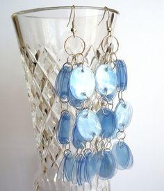 #UpcycledJewelry blue chandelier #earrings made of #recycled plastic bottle by @dekoprojects