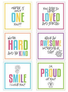 Free printable lunchbox notes to download!