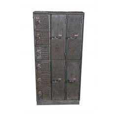 completely intact vintage american industrial freestanding heavy gauge angled iron wardrobe locker with mixed tier combination. #locker #repurpose #vintage