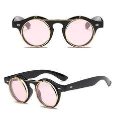 3ee5ec5d22 Bohemian Vintage Round Steampunk Flip Up Sunglasses
