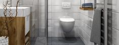 The Pros and Cons of Wall-Mounted Toilets Consumer Reports tested three wall-mounted toilet models; Handicap Bathroom, Washroom, Moroccan Bathroom, Bathroom Layout, Bathroom Ideas, Bathroom Signs, Wooden Shutters, Bad Inspiration, Bathroom Inspiration