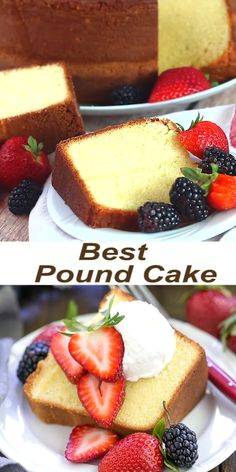 Pound Cake - so versatile with a tender, fine crumb The VERY Best Pound Cake - Dense, yet tender and delicious! Perfect topped with berries and cream!The VERY Best Pound Cake - Dense, yet tender and delicious! Perfect topped with berries and cream! Pound Cake Recipes, Easy Cake Recipes, Baking Recipes, Cookie Recipes, Dessert Recipes, Best Pound Cake Recipe Moist, Bundt Pound Cake Recipe, Easy Pound Cake, Sponge Cake Recipes