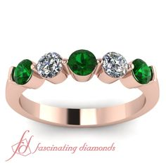 Common Round Band || Green Emerald Wedding Band In 14K Rose Gold.