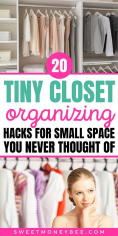 You'll love these budget friendly closet organization ideas for your small space! Get organized with these budget friendly storage solutions that closet designers rave about. Some ideas include some easy and frugal organizing DIY solutions too. Dollar Tree Organization, Bedroom Organization Diy, Small Closet Organization, Organisation Ideas, Household Organization, Home Organization Hacks, Organizing Ideas, Pantry Ideas, Closet Ideas